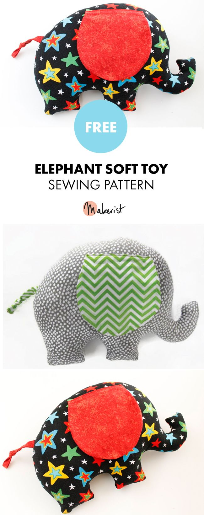 Elephant Soft Toy - Free Sewing Patterns via Makerist.com
