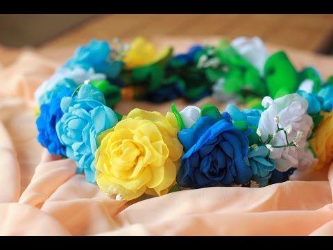 Венок из Цветов Мастер Класс / DIY Fabric Rose Wreath Head - YouTube