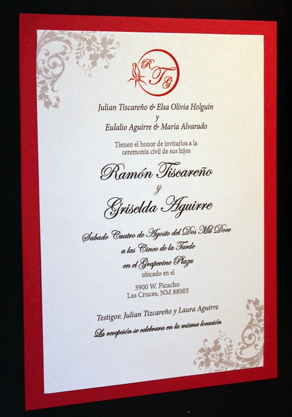 The radiant red invitation spanish by thefunkyolive on for Wedding invitations in spanish etsy