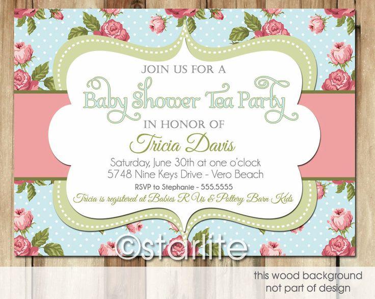 Vintage Tea Party Wedding Invitations: Baby Tea Shower Invitation Vintage Blue Floral Pink