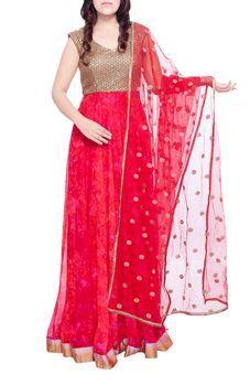 Red & Golden Floor Length Anarkali Suit Set by Soucika, Anarkalis #weddingwear #sangeet #sangeetshopping #weddingshopping #indianwedding #anarkali #ethnicwear #indianwear