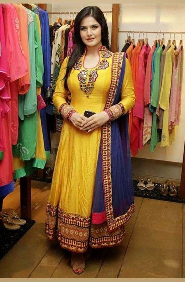 Zarine Khan Cotton Machine Work Work Yellow Semi Stitched Bollywood Designer Suit - S330