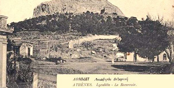 Lycabettus Hill. AT the beginning of the previous century Dexameni square was a dirt road with Lycabettus Hill on the background.