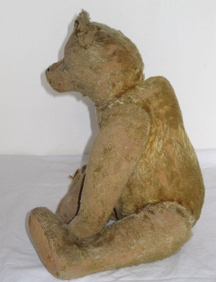 VINTAGE ANTIQUE STEIFF TEDDY BEAR MOHAIR GOLDEN STRAW 1910-1920