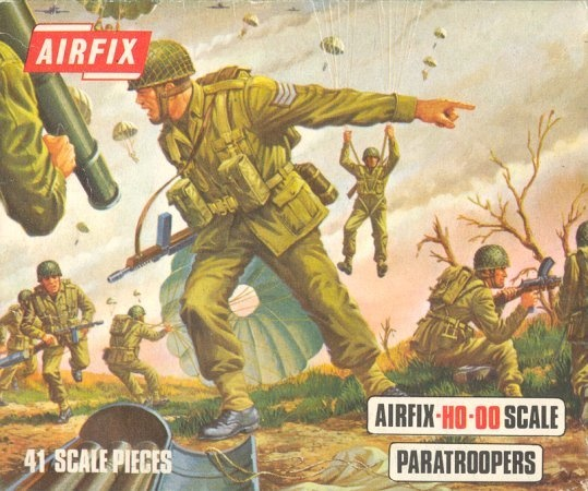 This simple box of HO-OO Scale Plastic Toy Airborne Soldiers had more influence on me to become one myself than I can express today. I am proud to say I was part of America's tradition of brave Paratroopers.  I am glad that dream did not stay stuffed away in some kid's toy soldier's box. OooRah to AIRFIX Toy Company!