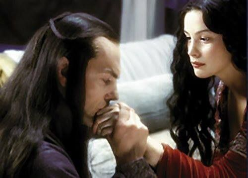 Lord Elrond and Lady Arwen - It reminds me of Finwe and Miriel, when she is leaving for the gardens of Lorien because the birth of her beloved Curufinwe so wearied her. Little did Finwe know that that farewell would be for good...