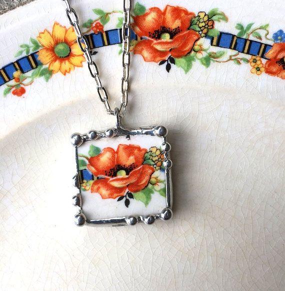Broken china jewelry pendant necklace antique beautiful firey orange poppy floral china