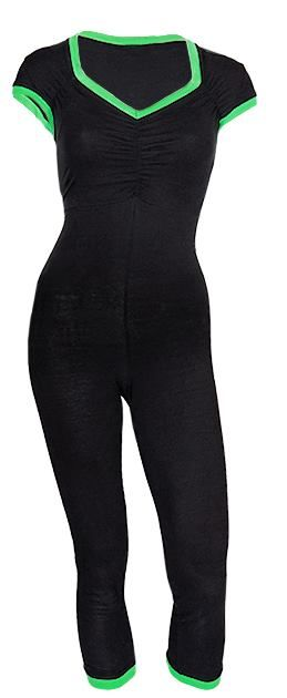 Jumpsuit in organic cotton-jersey http://www.ecouture.dk/femme-yoga-black-green.html?___store=gb&___from_store=gb  The Yoga Jumpsuit is made from organic cotton-jersey: 95% organic cotton/ 5% elastan, which makes it very flexible. The jumpsuit has a classic Ecouture-twist with it's details and colourful piping. The neckline is both feminine but not too exposed in a good balance. The legs have a great fit and it is very comfortable to wear.
