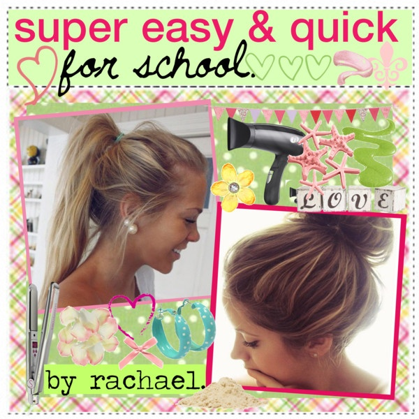 """""""easy & quick hairstyles for school. ♥"""" by the-amazing-tip-chickas ❤ liked on Polyvore"""