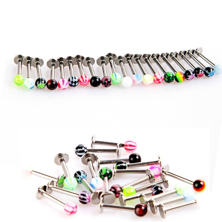 20 pc Ball Lip Rings Multicolor