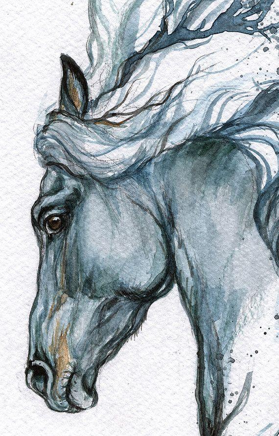 Framed original watercolour painting Tattoo horse by AngelHorses