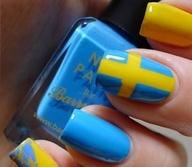 swedish flag nail art