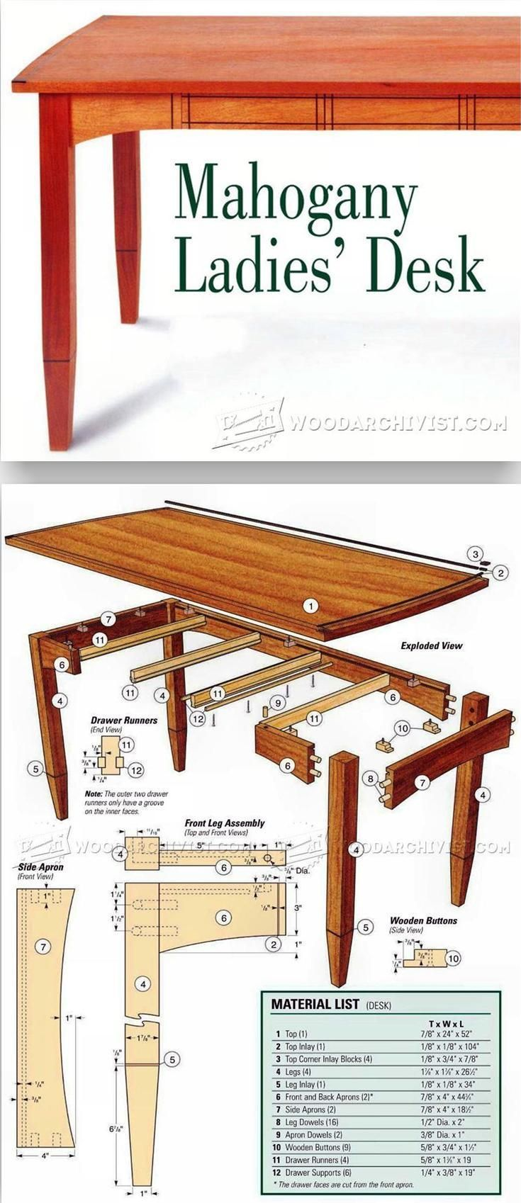 Three-Drawered Desk Plans - Furniture Plans and Projects   WoodArchivist.com