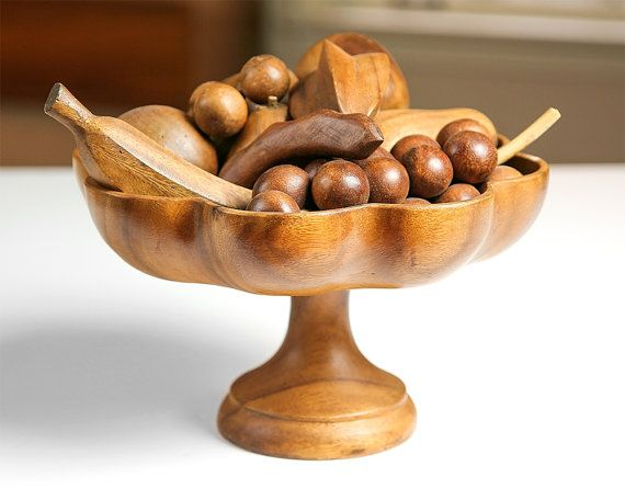 Vintage Wooden Fruit Bowl with Wooden Fruit / Made in the Philipines / Mid Century Home Decor