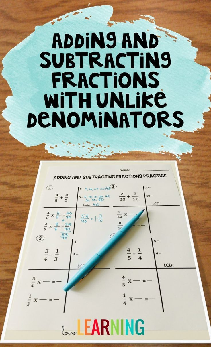 A Few Years Ago When I First Started Teaching Adding And Subtracting  Fractions With Unlike Denominators
