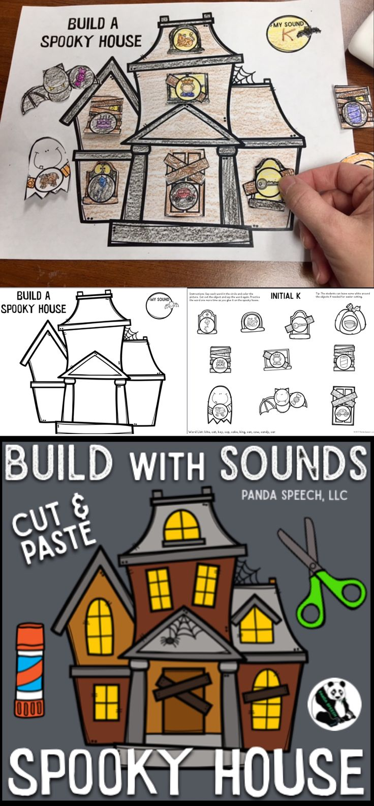 Build with Sounds Spooky House Speech Therapy Craft Activity