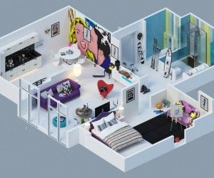 Excellent Apartment Building Design Ideas. Excellent Apartment Floor Plan in Rendered Colorful Pop Art Design With  Mural Of Wall In Young Lady White Decor 138 best images on Pinterest Architecture Architectural