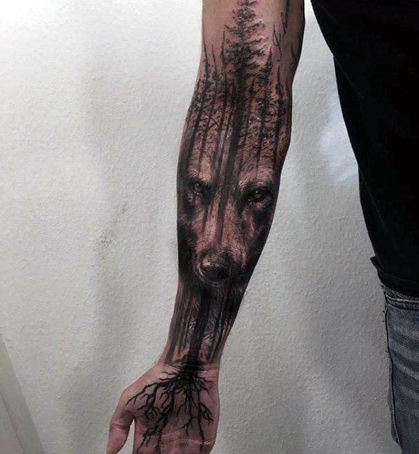 Wolf Tree Roots Mens Masculine Forearm Sleeve Tattoo http://giovannibenavides.com/PINTERESTTATTOOS