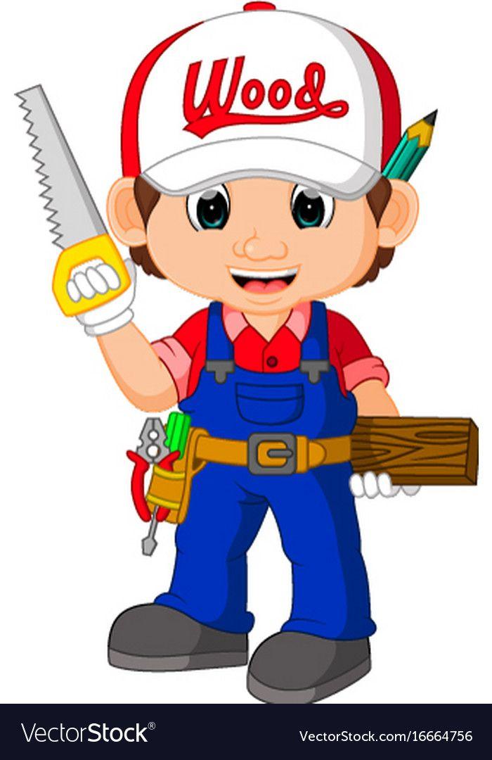 Funny Carpenter Cartoon Vector Image On Desenhos De Profissoes