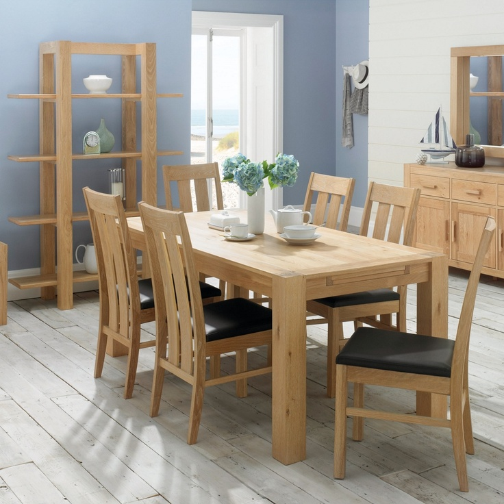 Debenhams Washed Oak Lyon Extending Table And Eight Slatted Chairs At