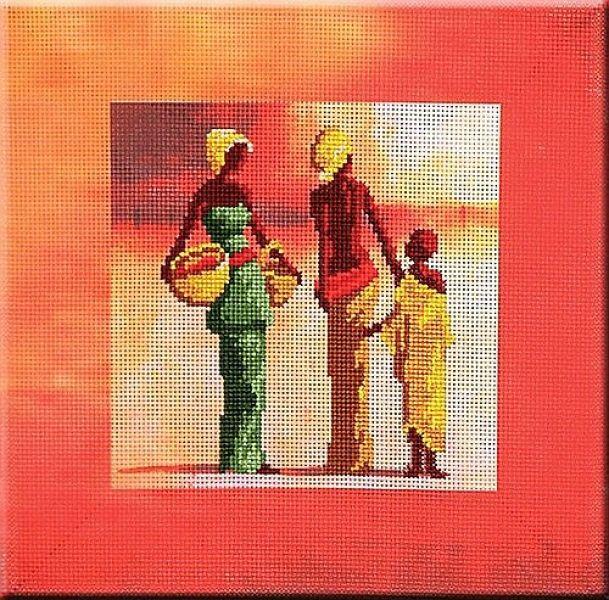 0 point de croix femmes africaines et enfant - cross stitch african women and a child