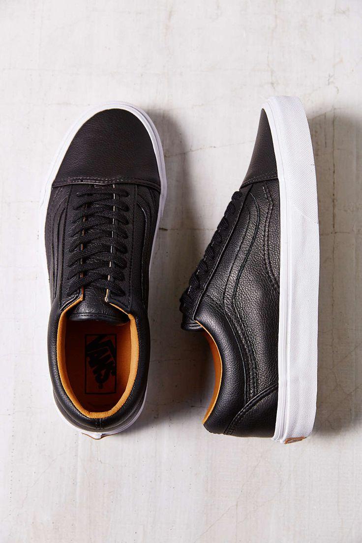 black leather low top vans