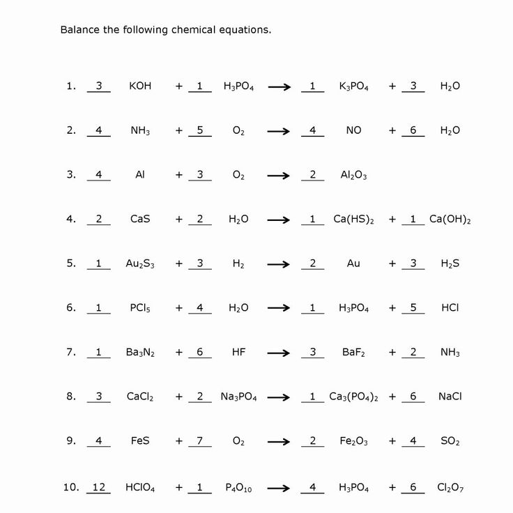 Balancing Equations Practice Worksheet Answers Awesome