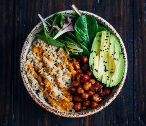 Vegan Buddha Bowl| Quinoa, Red Pepper Sauce, Roasted Chick Peas, Avocado, and Mixed Greens