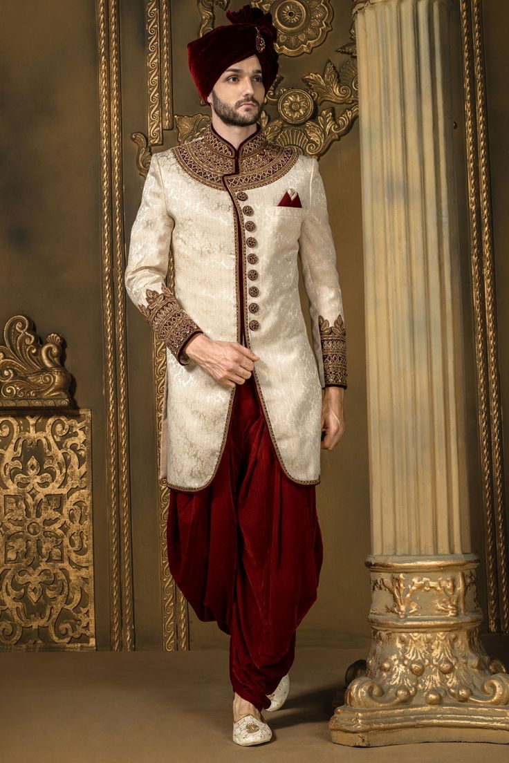 Light #creamish #gold and #maroon enticing khinkwab #jodhpuri bandh gala #sherwani with #dhoti pants-IW328