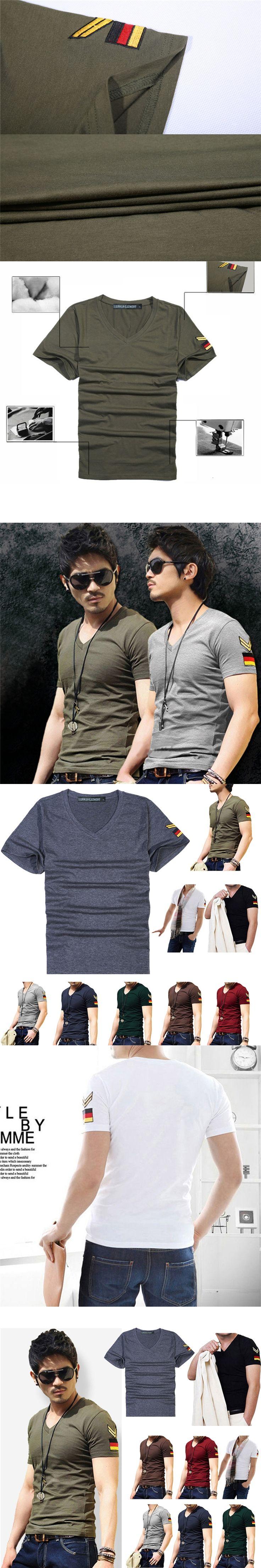 Men soldier Style Armband V Neck Short Sleeve T-Shirt Slim Casual Basic T Shirts