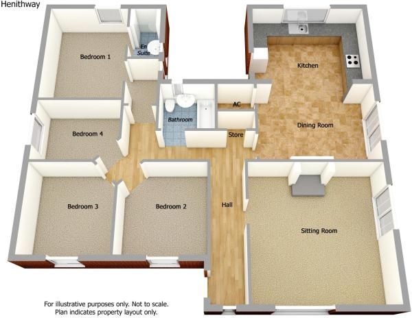 four bedroom bungalow floor plan Google Search (With