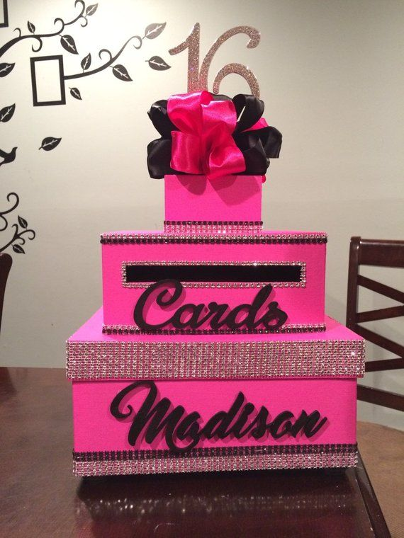 Bright Pink Black Sweet 16 Card Box In 2019 Products Sweet 16