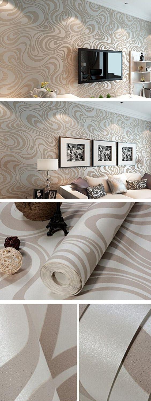 Moderne Luxus Abstrakte Kurve 3d Tapete Rolle Beflockung für Striped cremeweiß und silber Farbe 0.7m * 8.4m = 5.88㎡