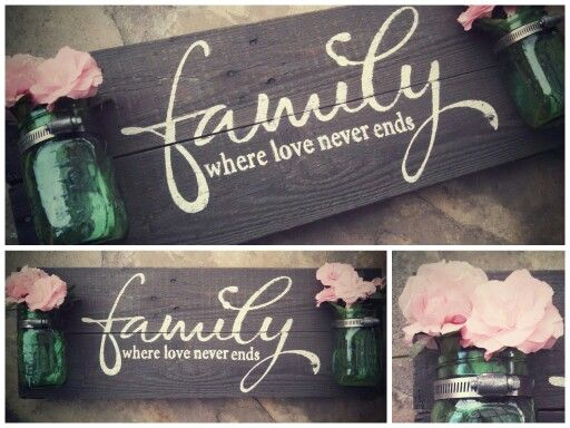 """Wood Pallet Sign - Hand painted wood sign crafted from a recycled pallet with vintage mason jars mounted with old hardware. """"Family, where love never ends"""""""