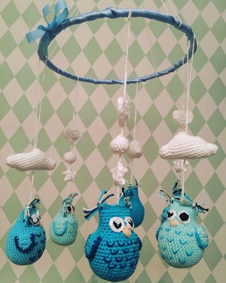 Ugglemobil #uggla #owl #mobil #crochet