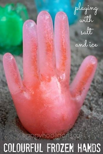 Photo: ICE, SALT, LATEX GLOVE = SPOOKY SCIENCE!  http://happyhooligans.ca/salt-and-ice-activity/