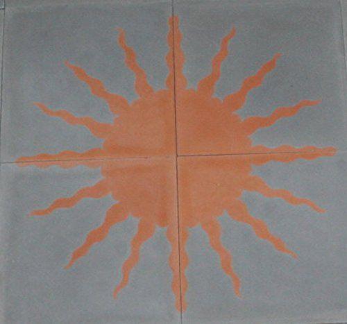 Fliesenbild Sonne, 4 Zementfliesen 0,16 m² 40x40x1,6 cm grau rot