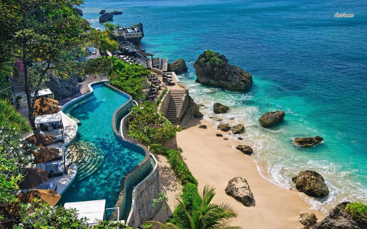 The Ayana Resort in Bali is a relatively short distance from the airport but sits on a secluded cliff overlooking the sea. It's got one of the world's most famous beach bars, the Rock Bar, along with 15 other restaurants and bars just in case.