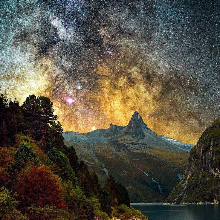 La splendeur de la galaxie dAndromède au dessus du petit village suisse de Vals  2Tout2Rien