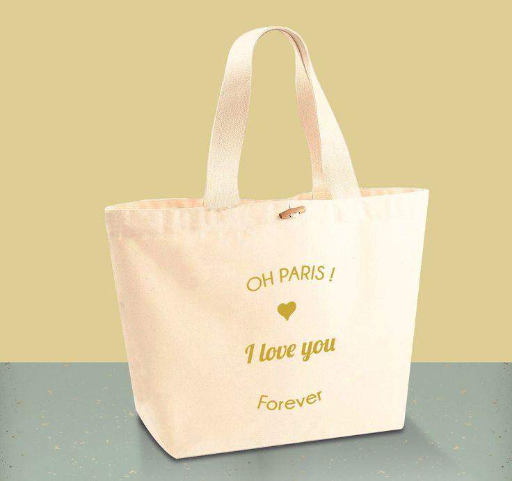 """Tote Bag CABAS 100% Coton BIO - """"Coeur"""""""