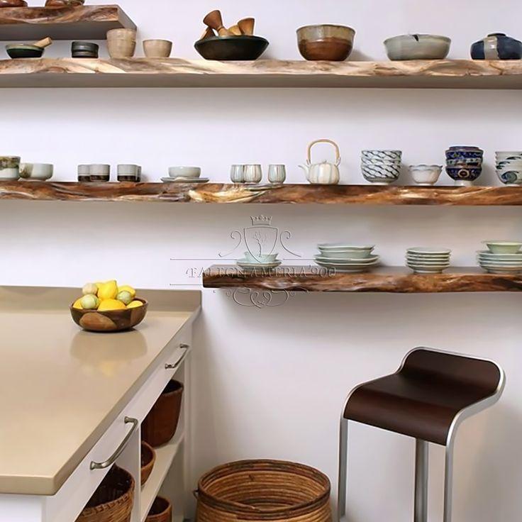 Scopri le nostre praticissime mensole e ordina subito i tuoi prodotti. Mensola In Castagno Massello Finitura Trasparente Naturale Kitchen Remodel Kitchen Design Floating Shelves Kitchen