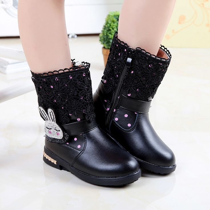 Waterproof Slip-Resistant Fashion Kids Snow Boots Leather Botas Ninas Cartoon Rabbit Princess Winter Boots For Girls TX163 alishoppbrasil