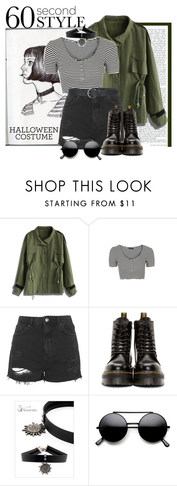 """// HALLOWEEN COSTUME: MATHILDA FROM LEON THE PROFESSIONAL //"" by rominaqu1d ❤ liked on Polyvore featuring Chicwish, Topshop, Dr. Martens, soo n soo and M&Co"