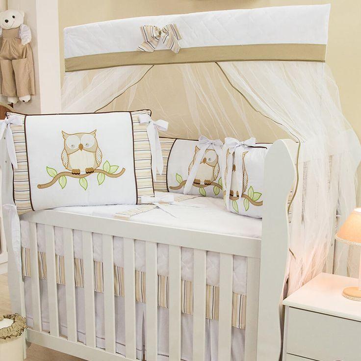 Corujinhas no quarto de bebê unissex! O Kit Berço Corujinha Cáqui é ideal para decorar o cantinho do seu bebê, seja menina ou menino, com elegância e fofura!