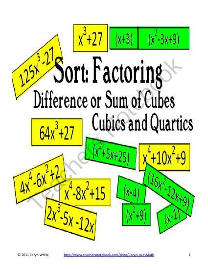 sort factoring difference sum of cubes cubics quartics from carynlovesmath on teachersnotebook. Black Bedroom Furniture Sets. Home Design Ideas