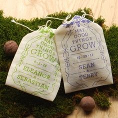 Make personalised wedding favour bags like this - these are perfectly themed seed herb bags
