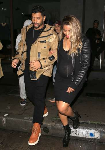 Celebrity PDA of 2017 - December 11, 2017:  NFL star quarterback Russell Wilson was seen taking pregnant wife Ciara out to shop at a Maxfield pop-up store in Los Angeles on Feb. 10.