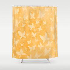 Butterfly Dreams in orange Shower Curtain