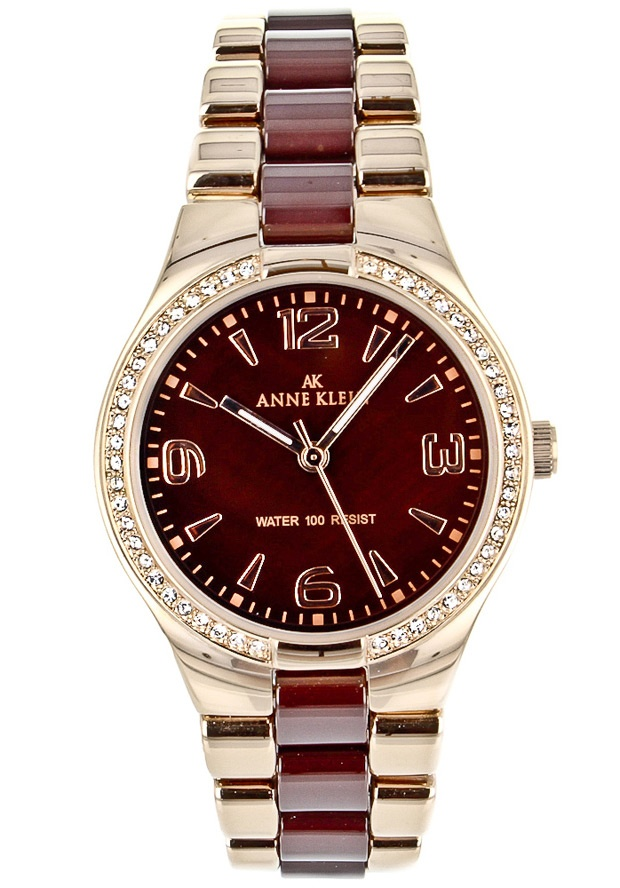 Price:$64.25 #watches Anne Klein 10-9118BMRG, Stainless steel case, Ceramic bracelet, Brown Mother of pearl dial, Quartz movement, Scratch-resistant mineral, Water resistant up to 3 ATM - 30 meters - 100 Feet