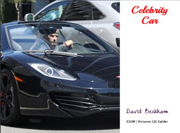 #Celebrity Car ! David Beckham, undoubtedly a fervent car enthusiast, seen driving his new $320K McLaren 12C Spider. His collection already includes #Rolls Royce, Ferrari , Bentley, #BMW and Aston Martin. #Motoring #DavidBeckham #McLaren